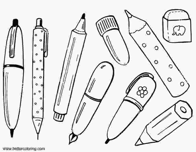 coloring pages of school supplies school supplies coloring pages with eraser free