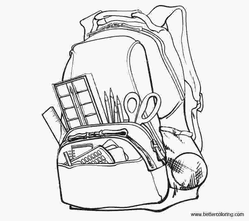 coloring pages of school supplies school supplies coloring pages with school bag free