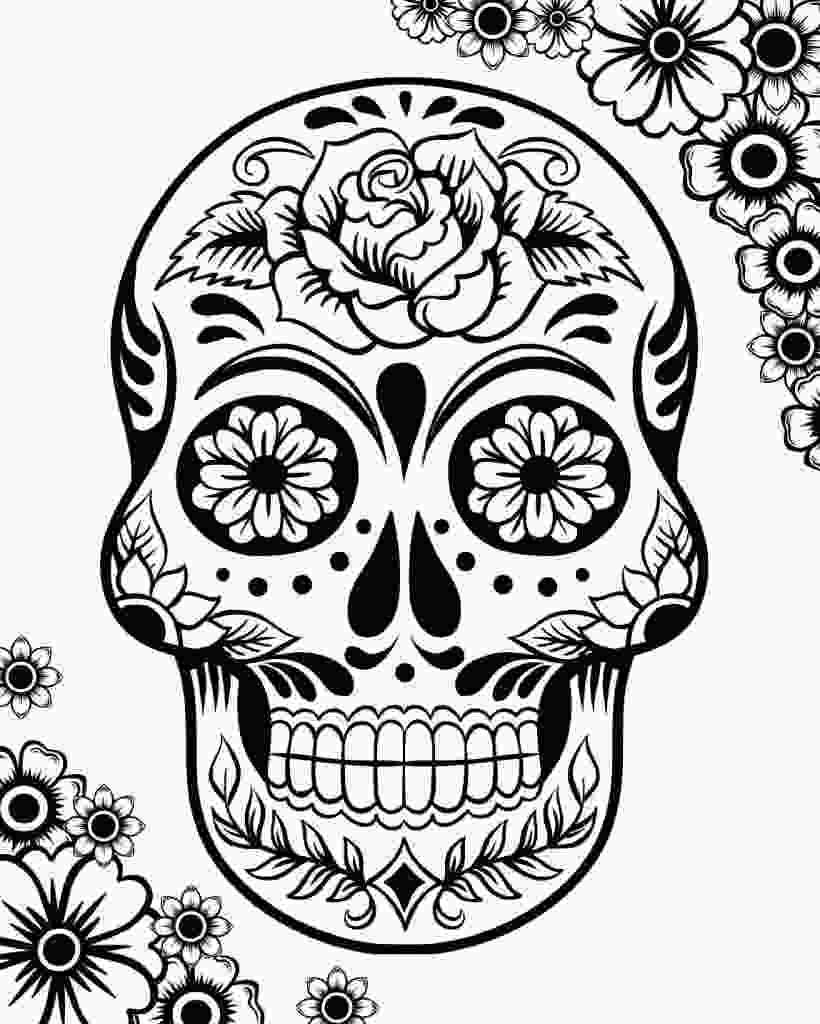 coloring pages sugar skulls free printable day of the dead coloring pages best