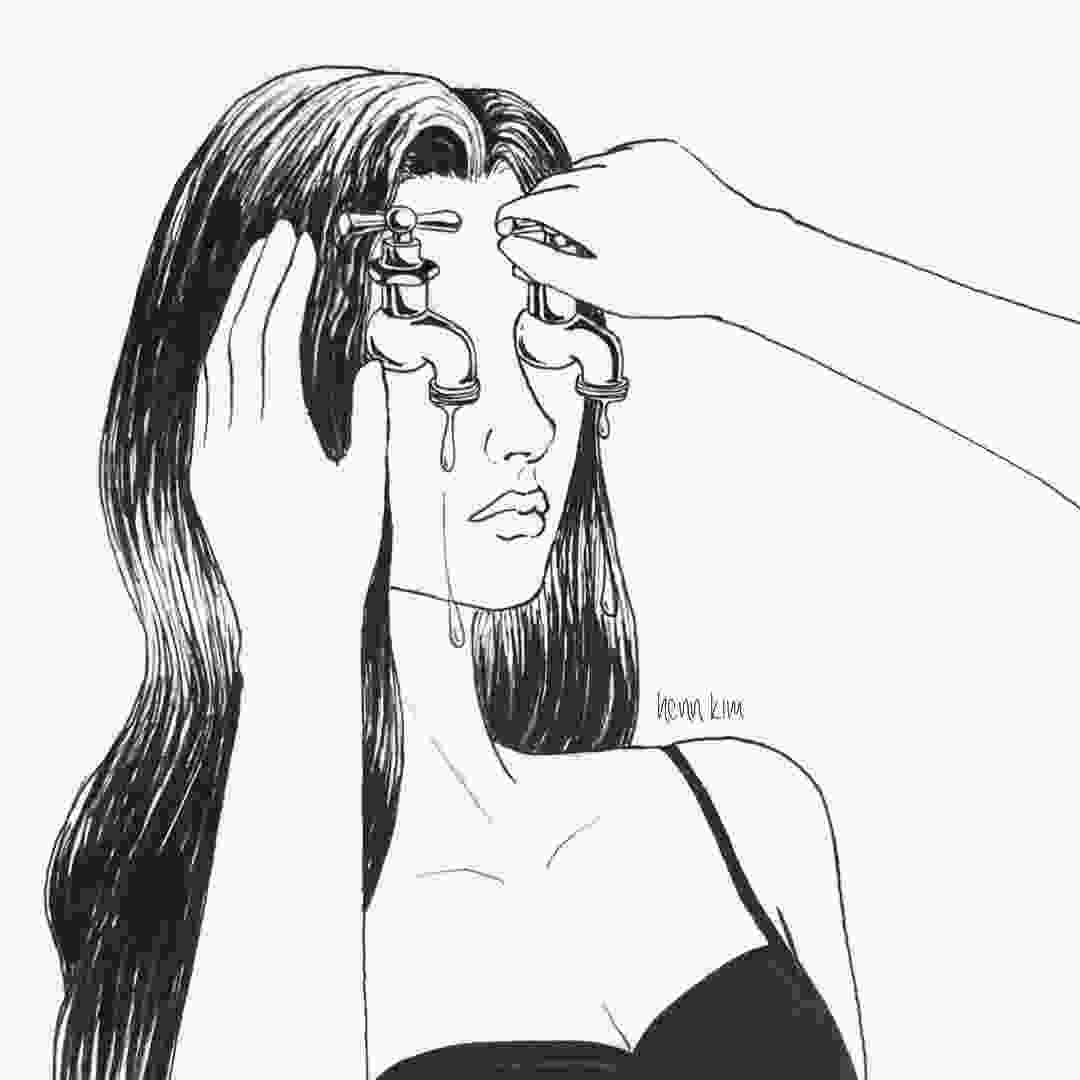 depression broken heart coloring pages depressed girl crying drawing tumblr at paintingvalleycom