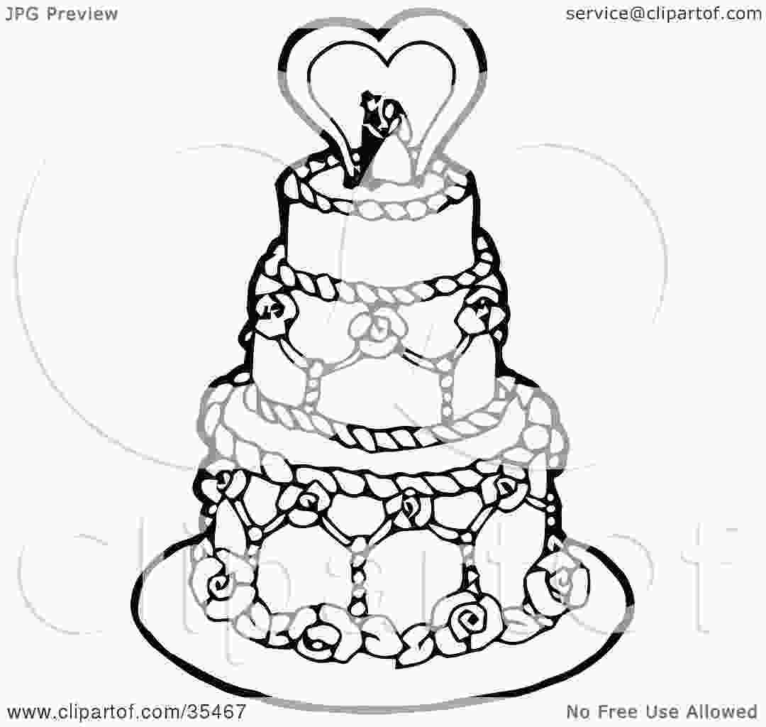 draw cake clipart illustration of a black and white tiered wedding
