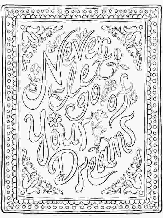 inspirational quotes coloring sheets inspirational quote coloring page never let go of your dreams