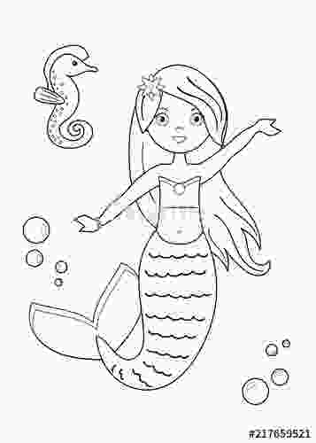 mermaid cartoon drawing quotcartoon mermaid with seahorse coloring page for children