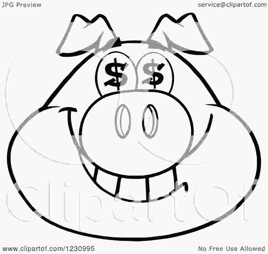 pig head coloring page clipart of an outlined pig head with dollar eyes royalty