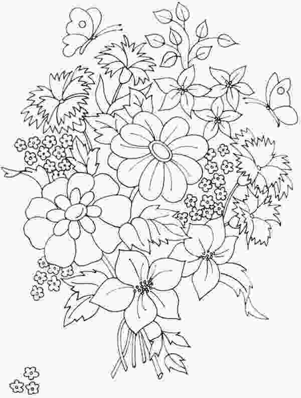 pretty flowers coloring pages flower bouquet pattern coloring pages beautiful