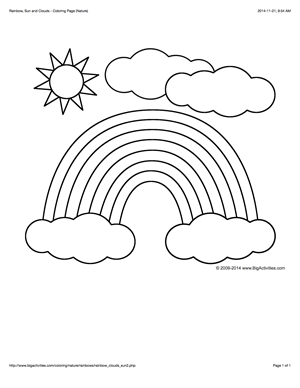rainbow and sun coloring pages coloring page with a rainbow sun and clouds to color
