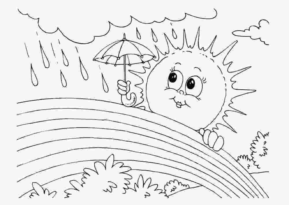 rainbow and sun coloring pages rainbow and sun in the rain coloring picture for kids