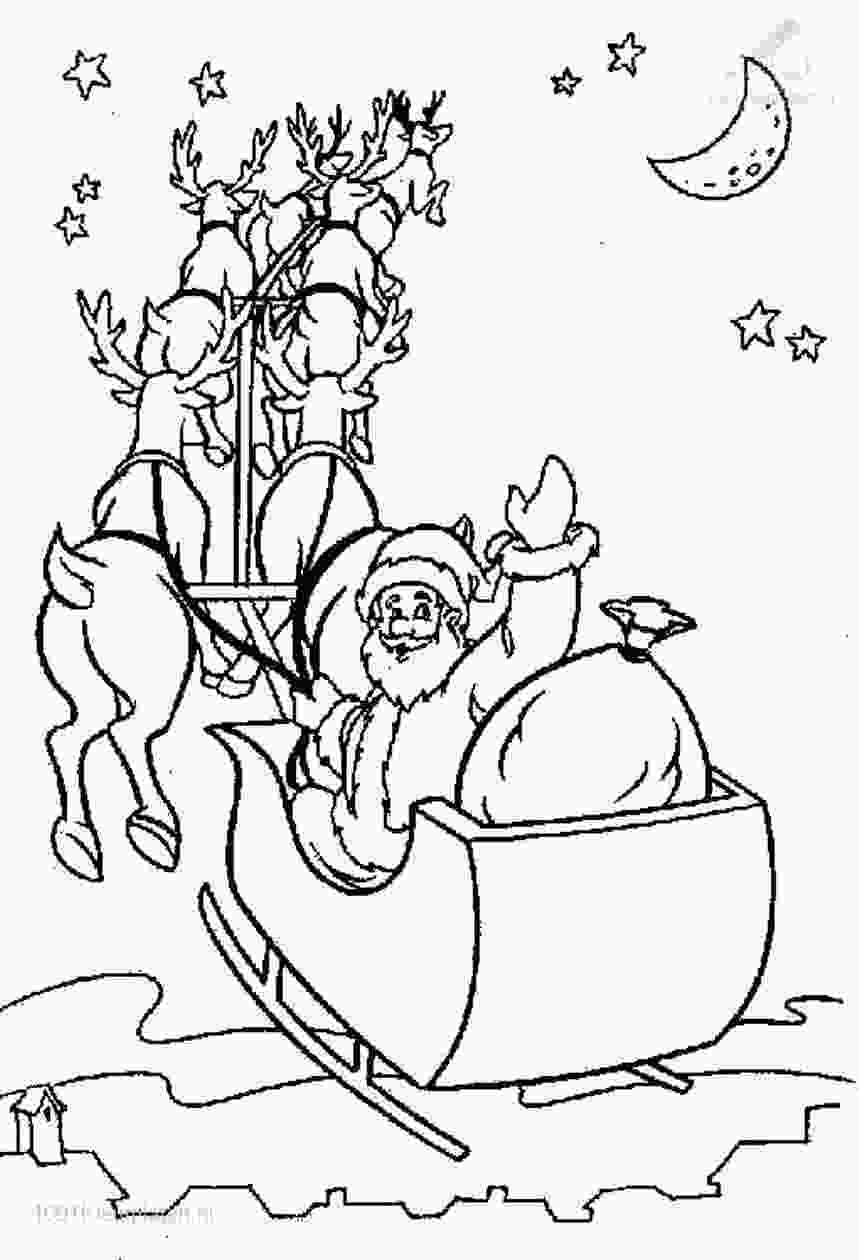 santa and his sleigh coloring pages santa in his sleigh coloring pages