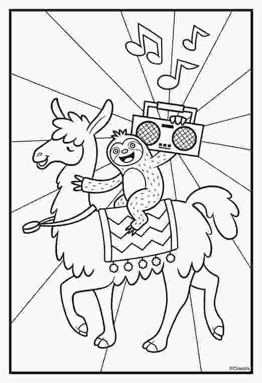 sloth coloring pages sloths love llamas boombox coloring page crayolacom