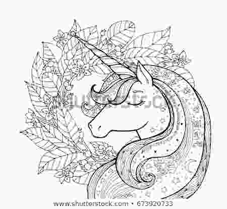 unicorn flower coloring page unicorn magical animal vector artwork black stock vector