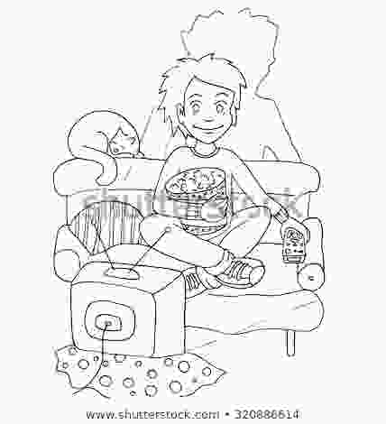 watching tv coloring young boy watching tv action eat stock vector royalty