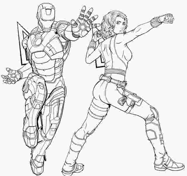 coloring avengers endgame iron man and black widow coloring page of avengers endgame