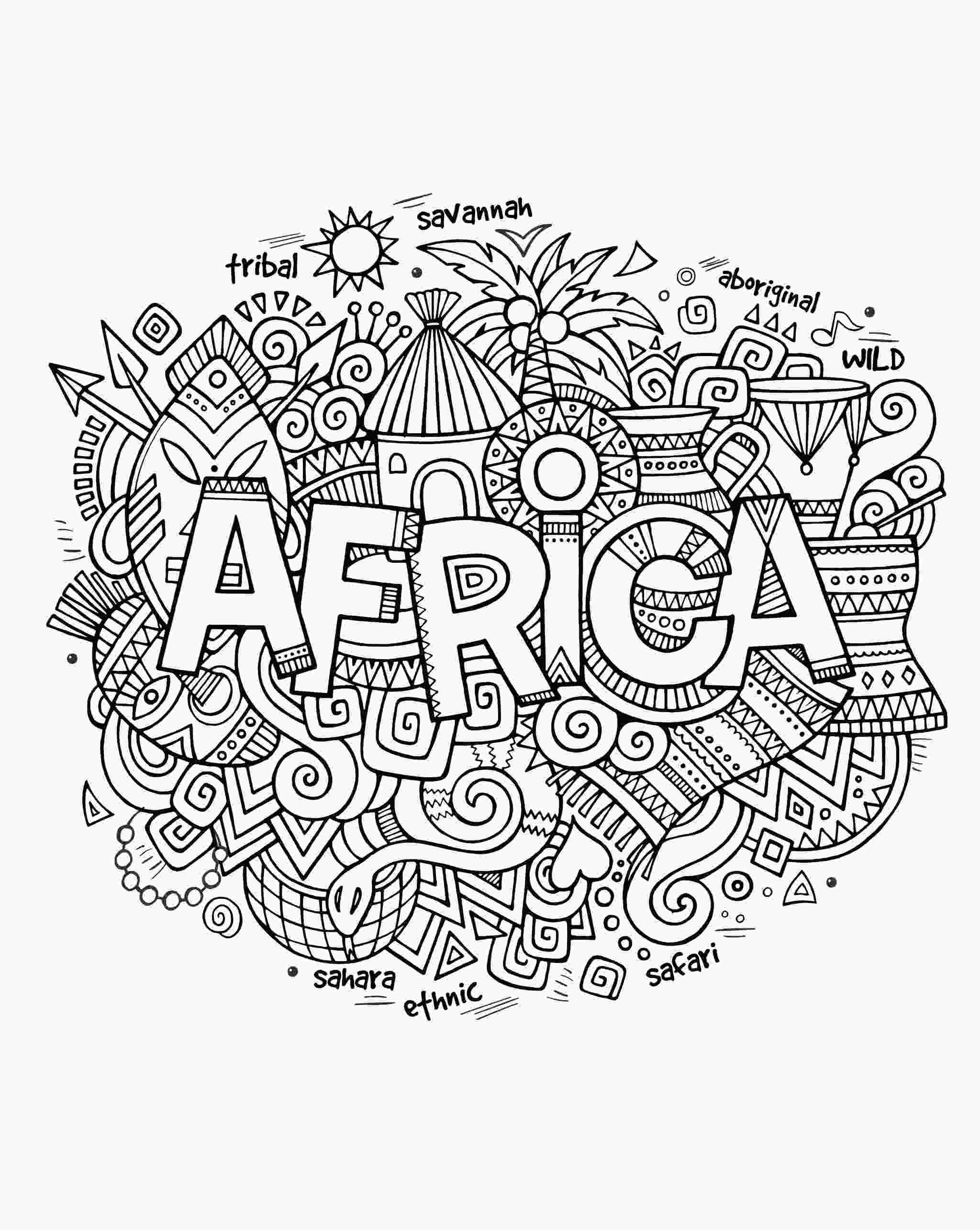 coloring pages of africa africa abstract symbols africa adult coloring pages