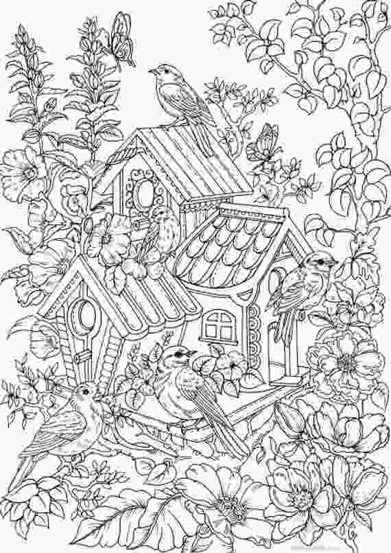 coloring sheet adults birdhouse printable adult coloring page from favoreads etsy