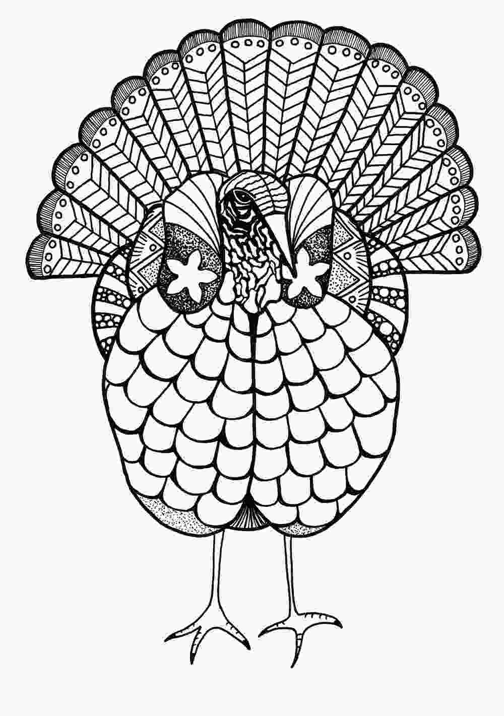 coloring sheet adults colorful turkey adult coloring page favecraftscom