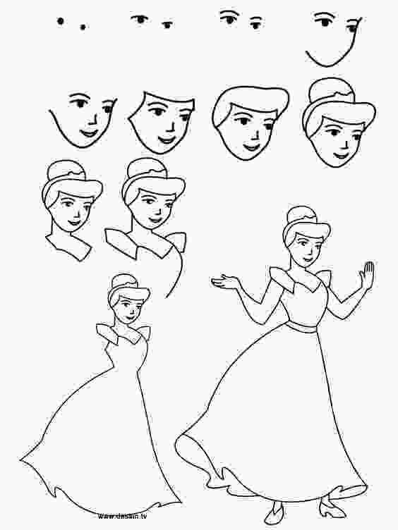disney characters sketches step by step easy cinderella princess drawing step by step free
