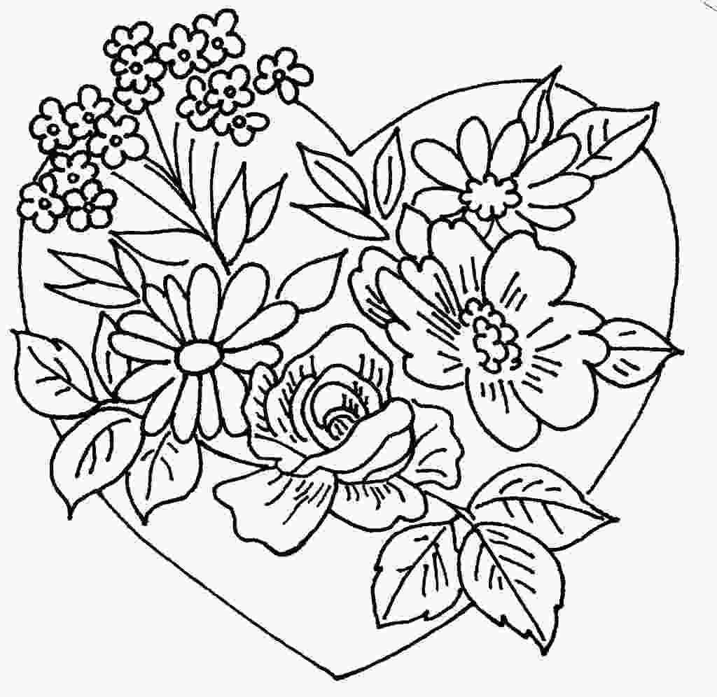 flower heart coloring pages heart and flowers 2 unknown manufacturer love to sew