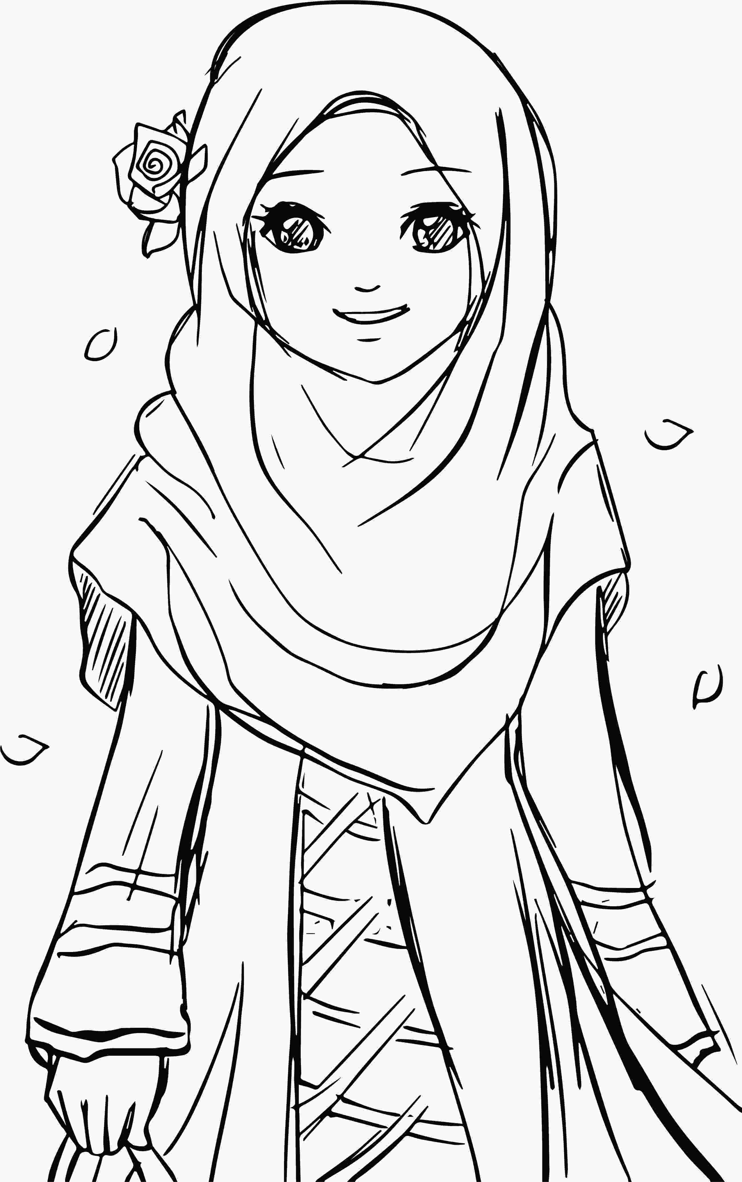 girl colouring pages cool islamic muslim wears hijab girl coloring pages