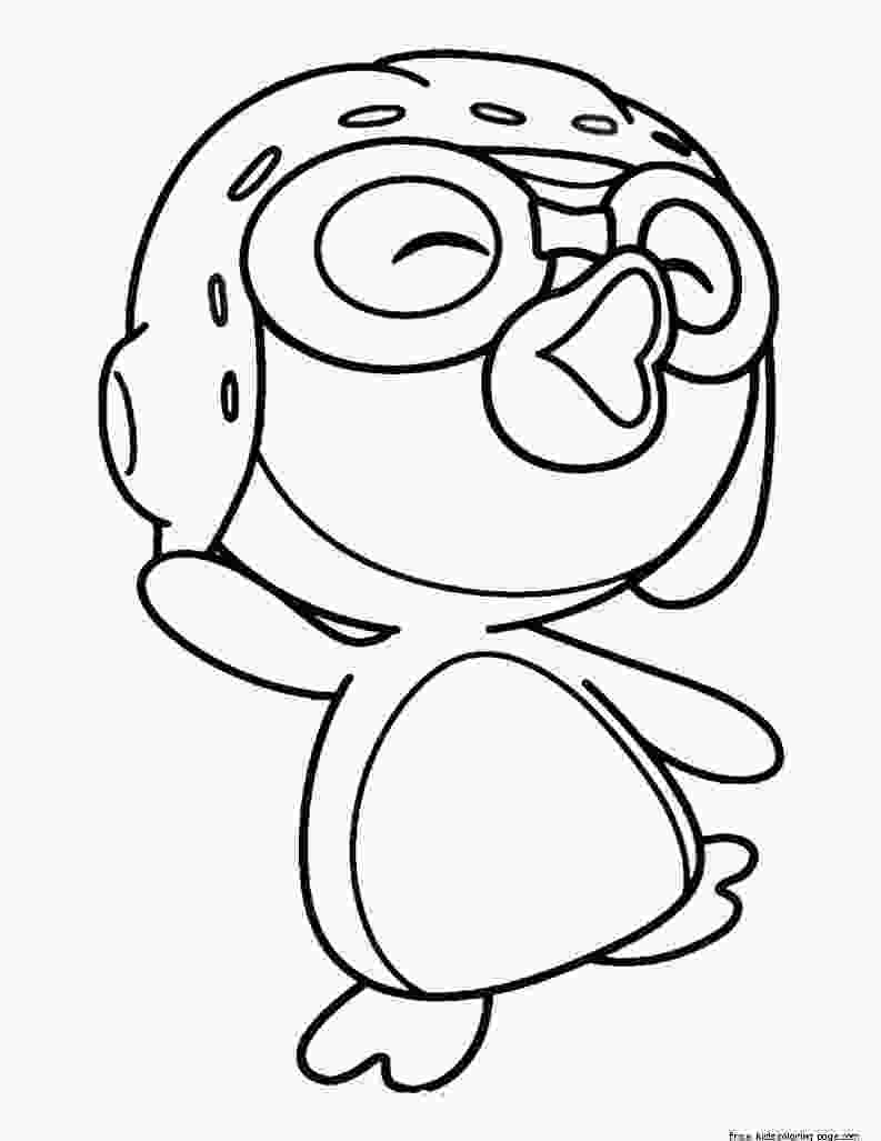 kids coloring print printable pororo the little penguin coloring pages for