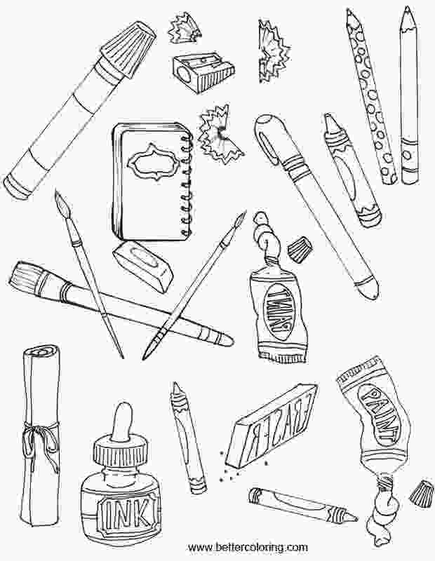 school supplies coloring pages school supplies coloring pages with painting tools free