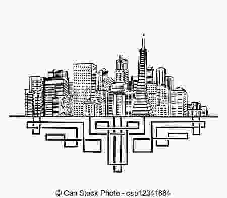 sf skyline outline san francisco ca skyline black and white vector