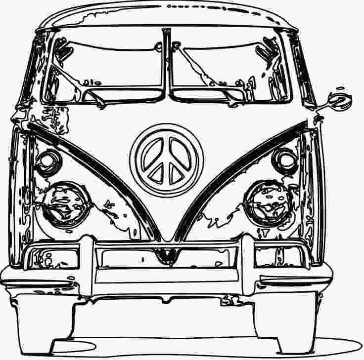 vw bus coloring page van clipart black and white free download best van