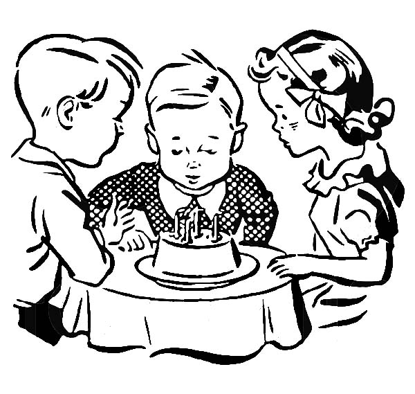 boy birthday coloring pages birthday boy sitting in front of his birthday cake birthday coloring pages boy