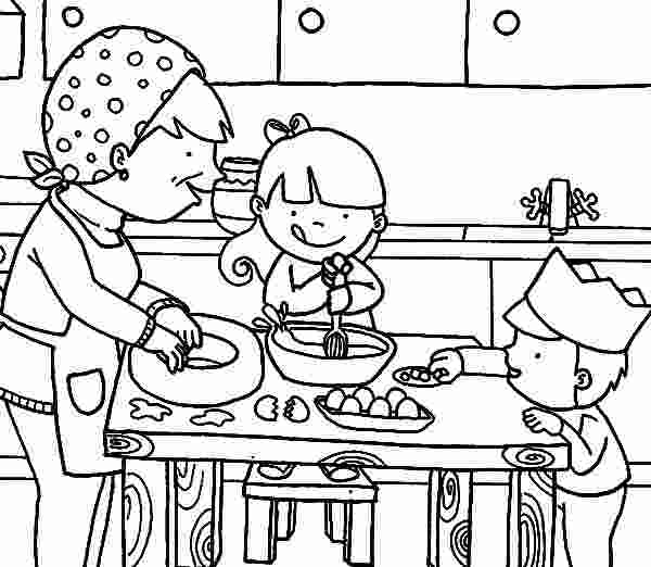 kitchen coloring page cooking with mom in the kitchen coloring pages download
