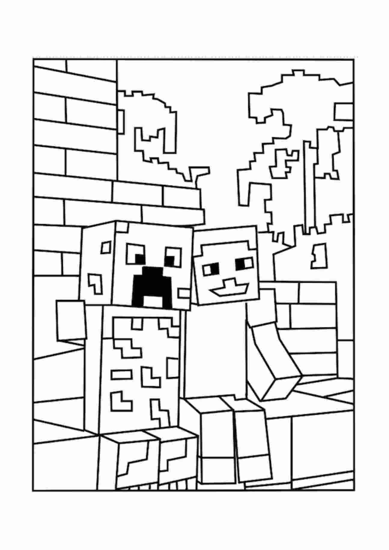 minecraft colouring pages a minecraft creeper and pal coloring picture coloring