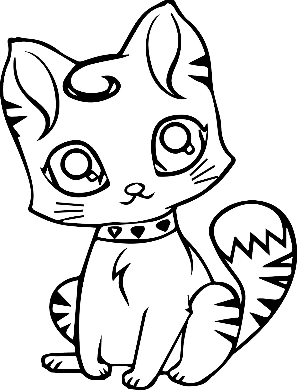 cat color page navishta sketch sweet cute angle cats color cat page