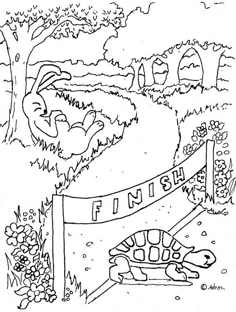 coloring page rabbit and tortoise story drawing color the tortoise and the hare worksheet educationcom and drawing story rabbit tortoise coloring page