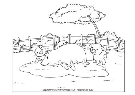 farm pig coloring pages pig scene colouring page pages farm pig coloring