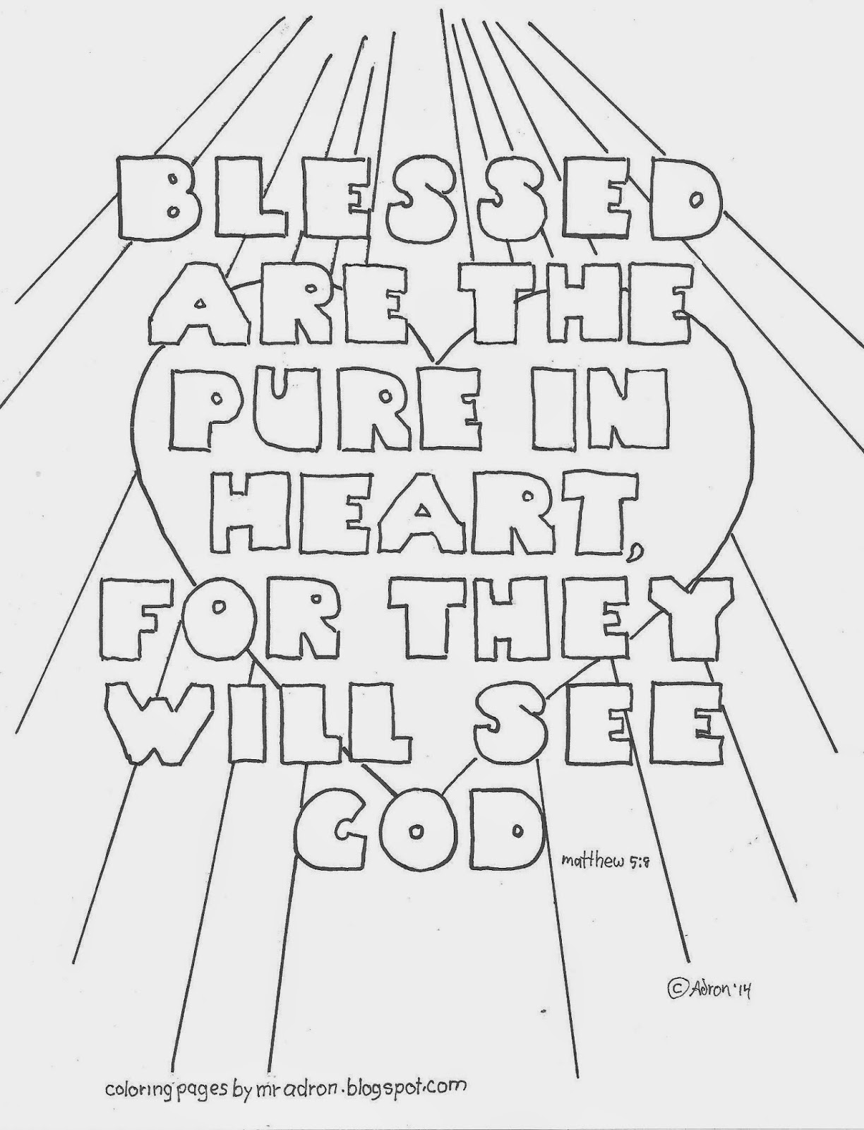 clean heart coloring page coloring pages for kids by mr adron blessed are the pure page coloring clean heart