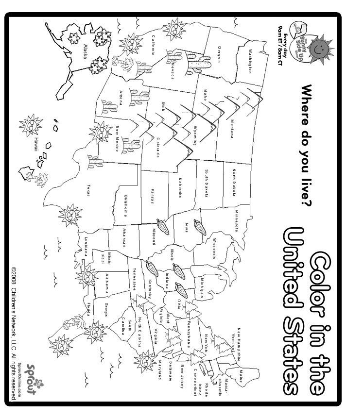 coloring page map of the united states color in the united states learn the states pinterest page the coloring of united map states