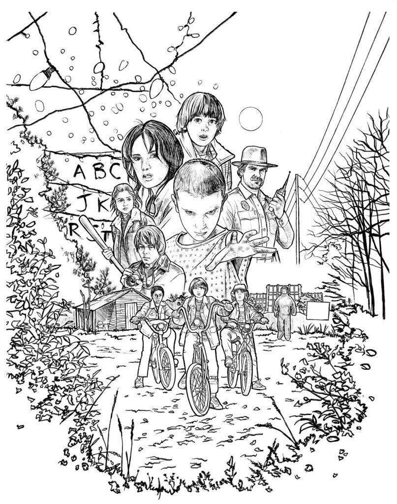 stranger things season 1 coloring pages free printable stranger things coloring pages in 2019 1 season pages stranger coloring things
