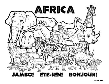 african animals colouring africa wildlife coloring page by clark creative science animals african colouring