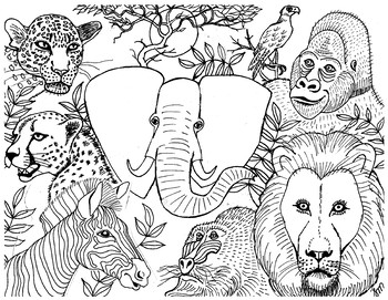 african animals colouring african animals colouring page by suzanne munroe french animals african colouring