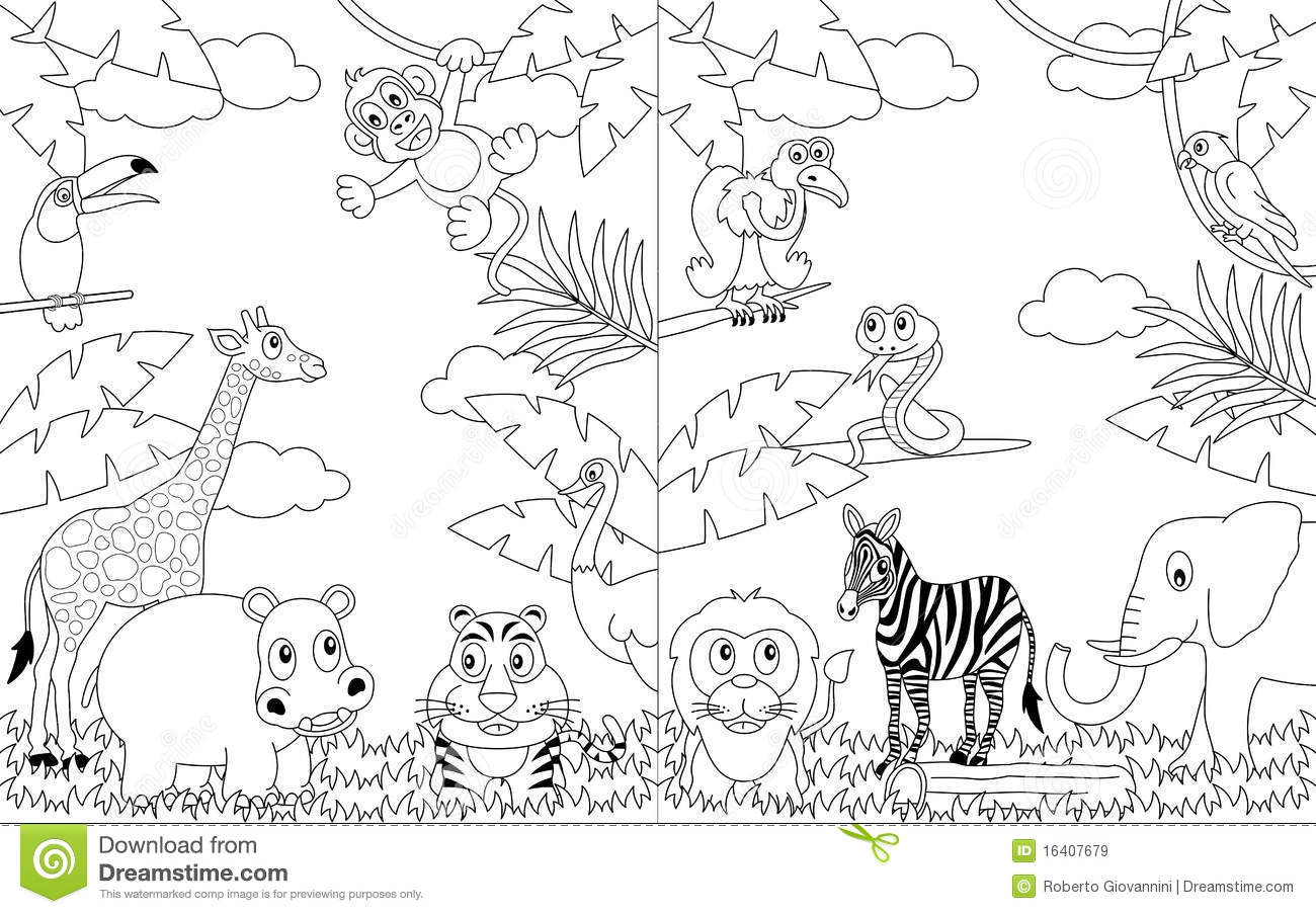 african animals colouring coloring african landscapes 2 stock vector animals african colouring
