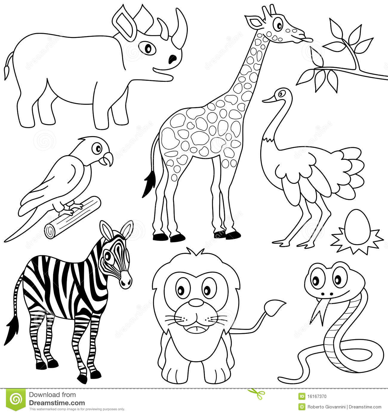 african animals colouring set of cute african animals coloring page funny cartoon african animals colouring