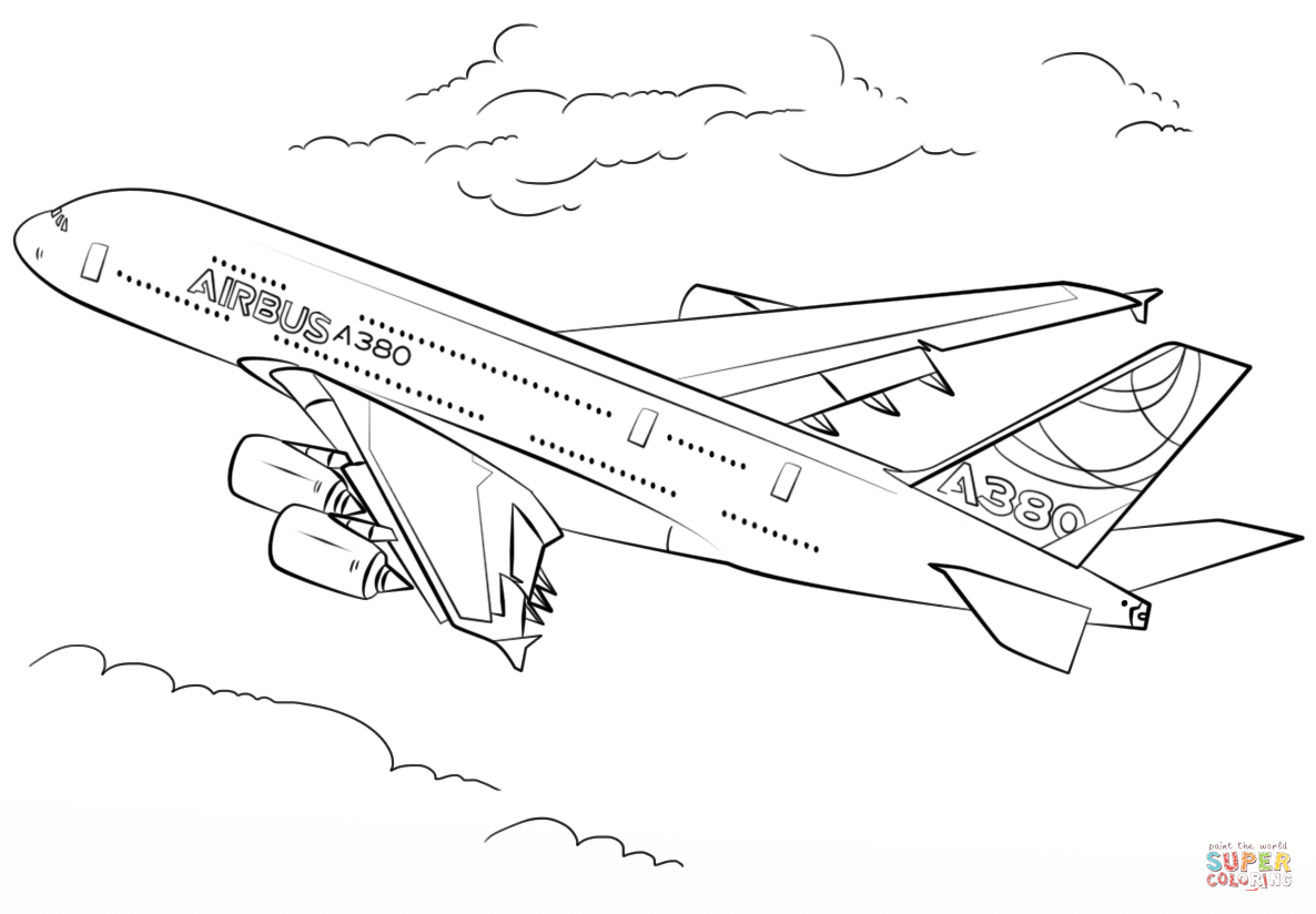 airbus a380 coloring pages airplane coloring pages free printable bw pictures coloring airbus a380 pages