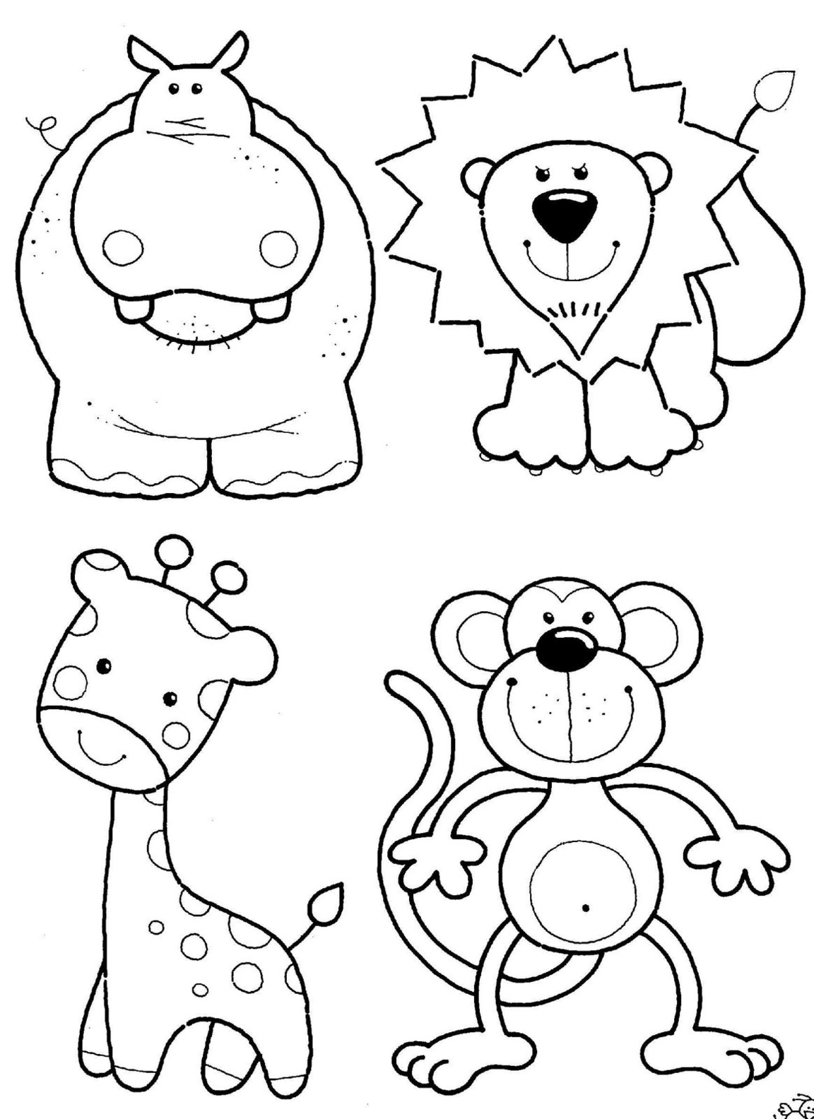 animal coloring pages cute jungle animals coloring page animal pages coloring