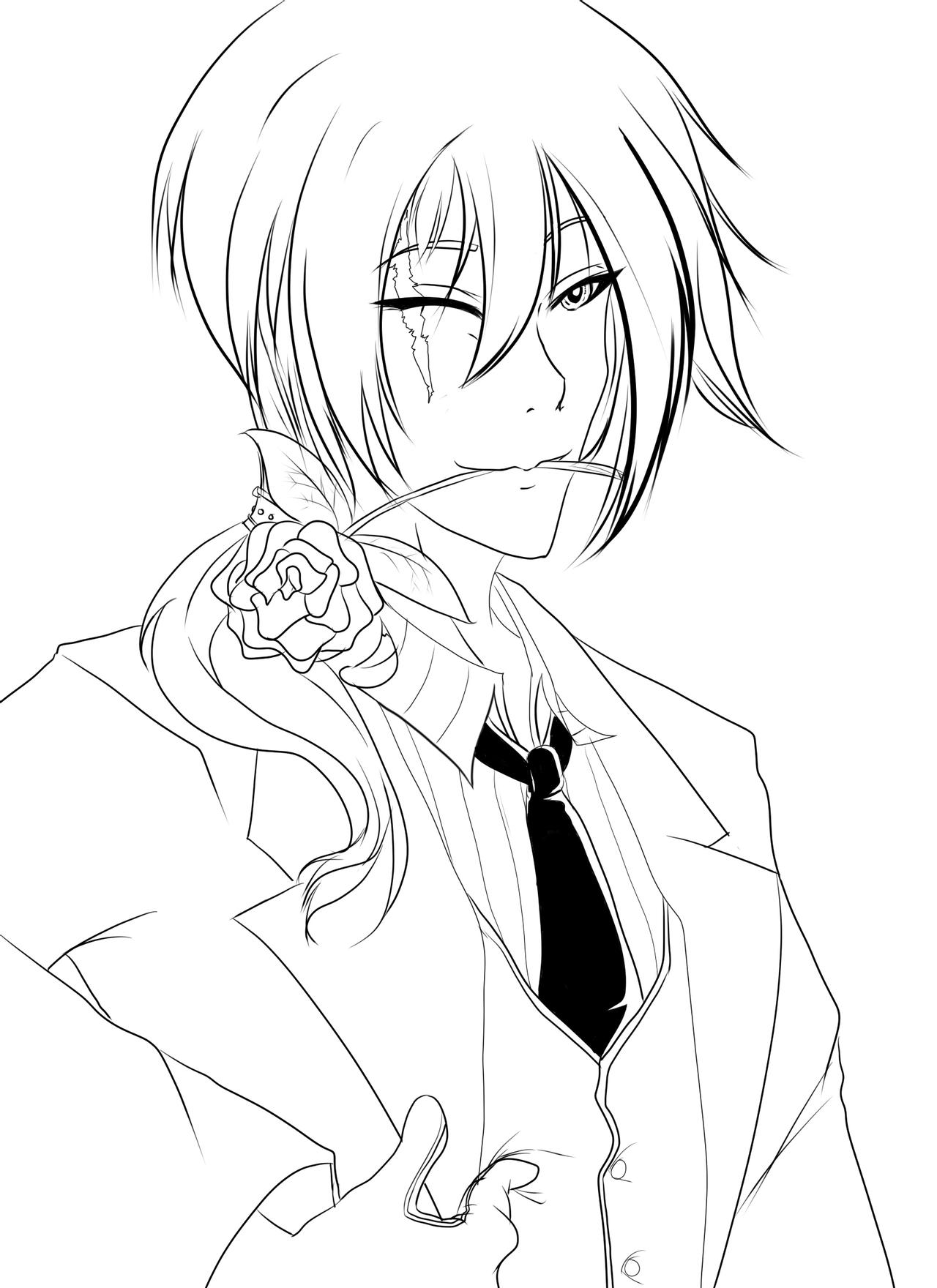 anime male coloring pages butler lineart by razor sensei on deviantart pages coloring male anime