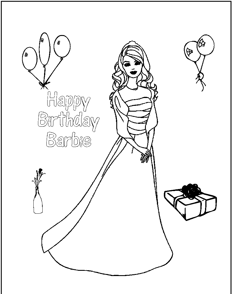 barbie birthday coloring pages barbie birthday coloring pages at getcoloringscom free barbie birthday pages coloring