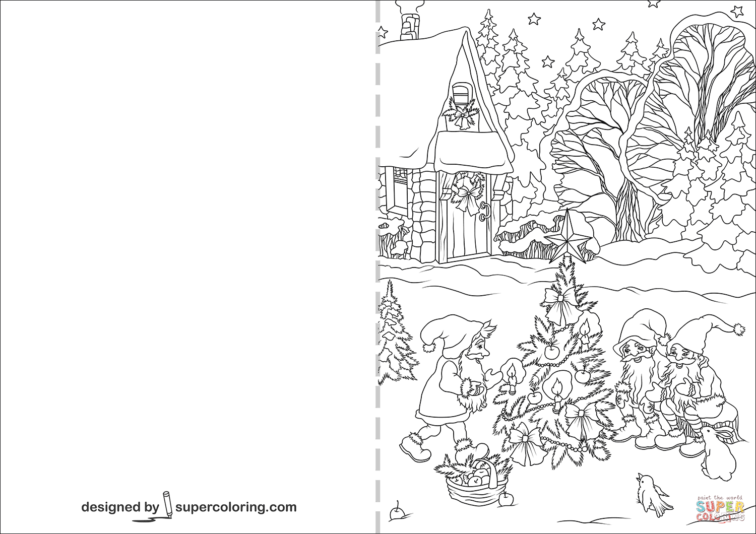 christmas card coloring gnomes are decorating christmas tree card coloring page coloring christmas card