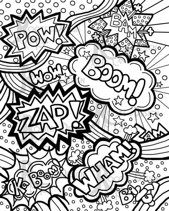 coloring art pages instant download coloring page comic book words by art pages coloring