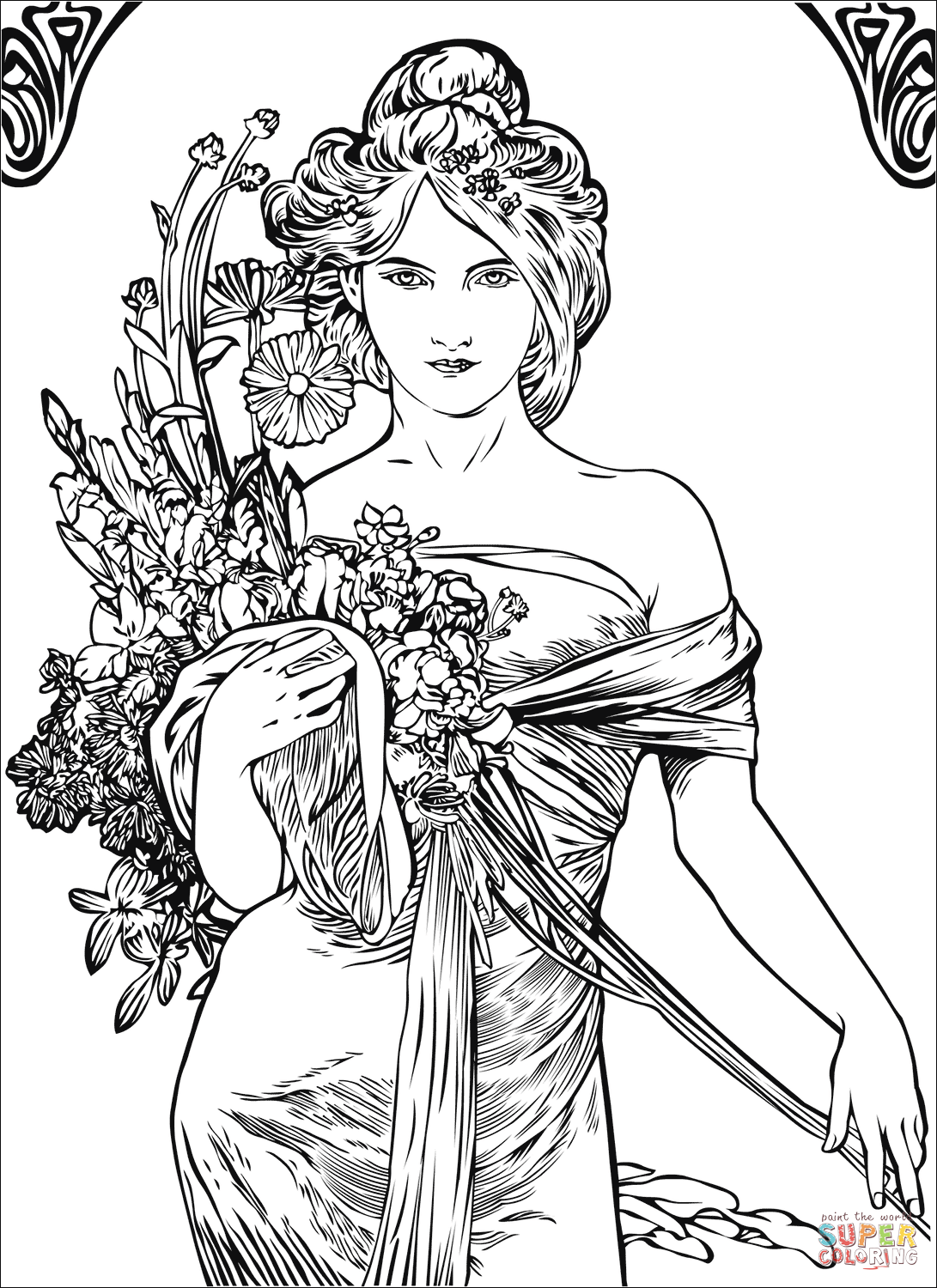 coloring art pages spring by alfons mucha coloring page free printable coloring pages art