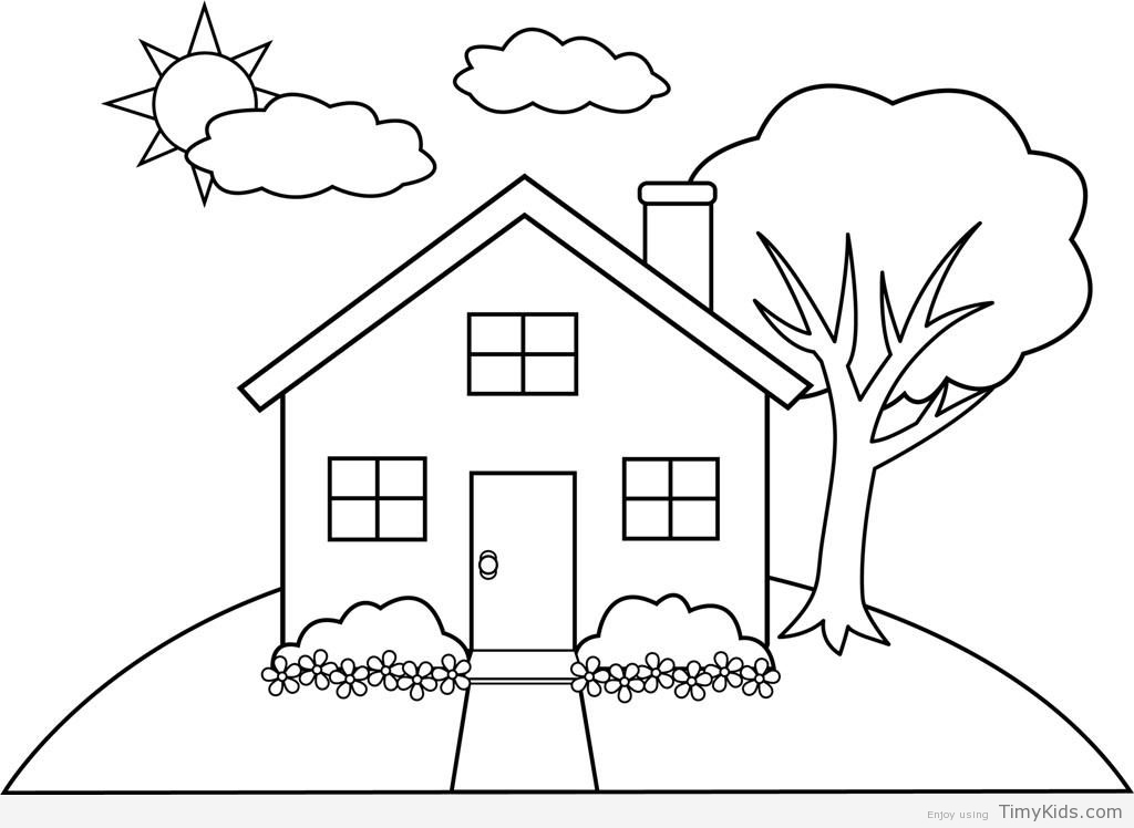 coloring kids house simple house drawing for kids at getdrawings free download house kids coloring