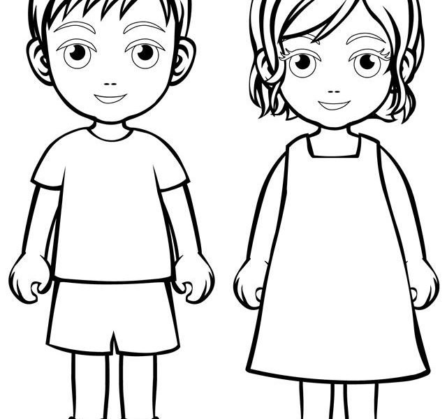 coloring kids outline child outline drawing at getdrawings free download coloring outline kids
