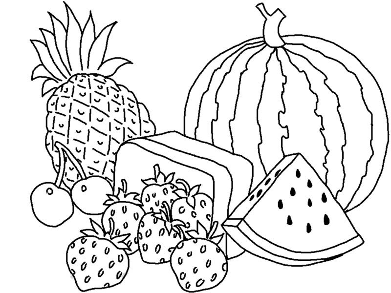 colouring images of fruits vegetables drawing for kids at paintingvalleycom images fruits colouring of