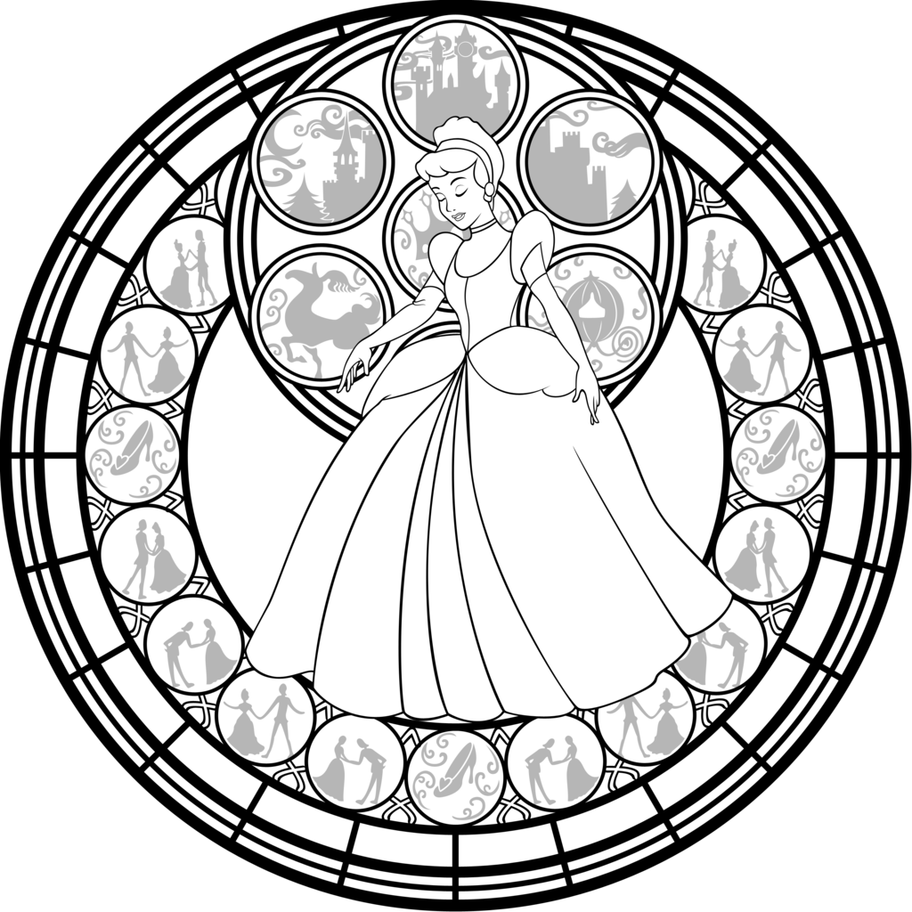 disney stained glass coloring pages cinderella stained glass vector line art by akili amethyst coloring pages disney stained glass